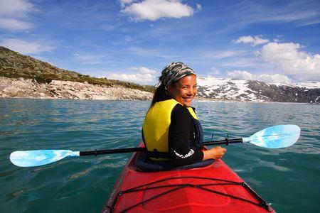 canoe paddle: Kayak at glacier lake, Styggevatnet, Jostedalsbreen in Norway. Stock Photo