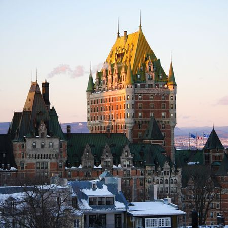 Quebec City famous landmark, Chateau Frontenac in winter photo