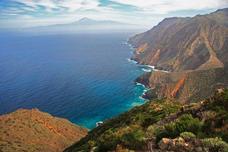 Island landscape, Tenerife seen from Gomera, Spain