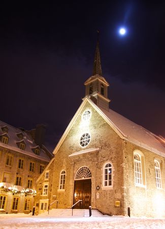 Quebec city famous landmark. The church at Place Royale. Winter in Quebec, Canada. photo