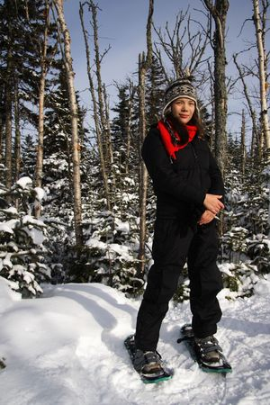 Young woman snowshoeing in pine forest near Baie Saint-Paul, Quebec, Canada Stock Photo - 4190421
