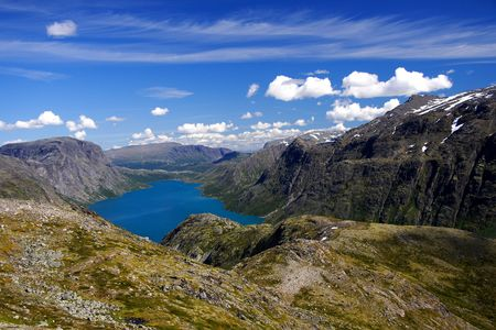 The lake Gjende in Norway. From the famous Bessegen hike in Jotunheim National Park, Norway Stock Photo - 4221888