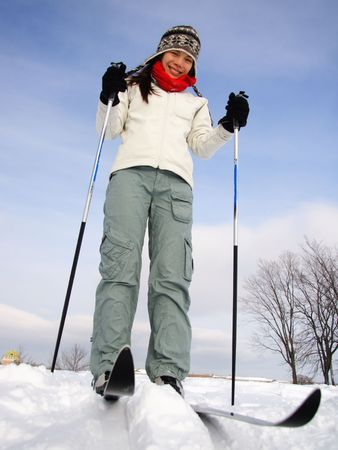 abraham: Cross country skiing on the Plains of Abraham (Plaines dAbraham) with Chateau Frontenac in the background, Quebec City, Canada