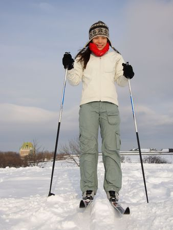 Cross country skiing on the Plains of Abraham (Plaines dAbraham) with Chateau Frontenac in the background, Quebec City, Canada  photo