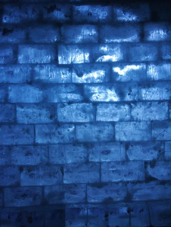 wall of ice with blue backlight