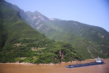 Coal transport on the Yangtze river in China. Stock Photo