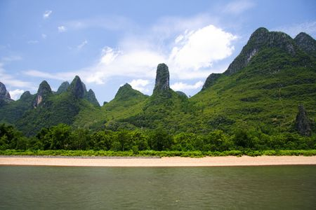 karst: Li river karst mountain landscape between Yangshuo and Guilin, China