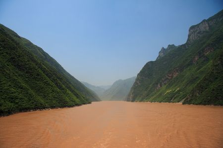 upstream: Classical view down the Yangtze river in China, upstream of the 3 gorges dam