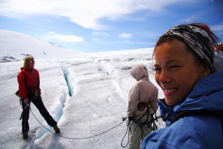 crevasse: Glacier walking on Jostedalsbreen in Norway. Lake: Styggevatnet. Glacier-arm: Austdalsbreen