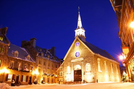 Quebec city famous landmark. The church at Place Royale. Winter in Quebec, Canada. Stock Photo - 4386365