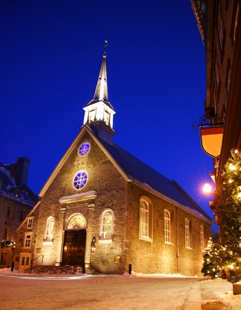 royale: Quebec city famous landmark. The church at Place Royale. Winter in Quebec, Canada.