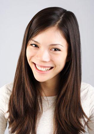 big smile: Young beautiful eurasian woman with big smile