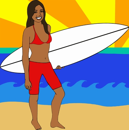 Surfer Girl holding her surfboard on the beach Vector