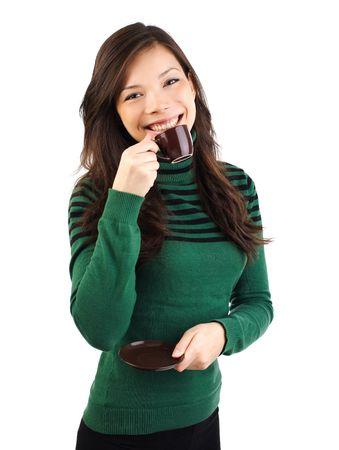 Gorgeous eurasian woman drinking espresso photo