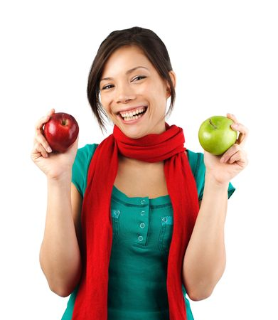 Beautiful autumn woman with red and green apples. Isolated on white.  photo