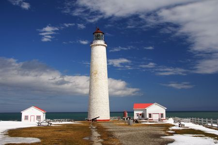 Tallest lighthouse in Canada. located in Cap Madeleine, Gaspesie, Quebec. April. Stock Photo - 4701503