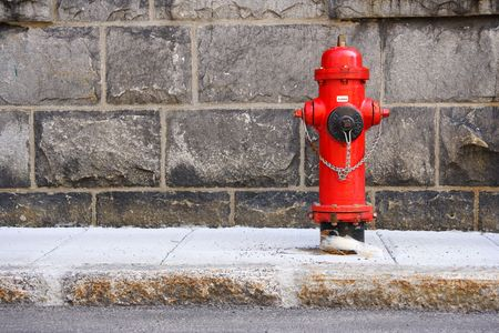 Typical red fire hydrant. Quebec city.