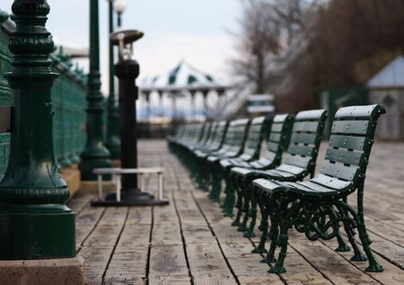 Typical scene from Quebec City: The benches in front of Chateau Frontenac. photo