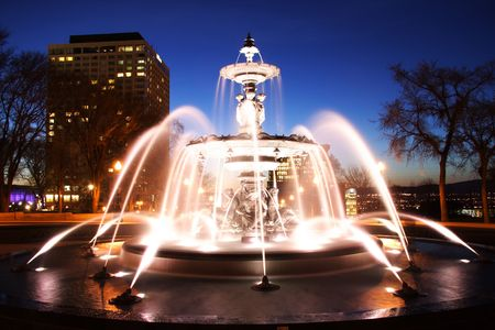 fontaine: Quebec City night scene in downtown. Fountain: Fontaine de Tourny. Long exposure. Stock Photo