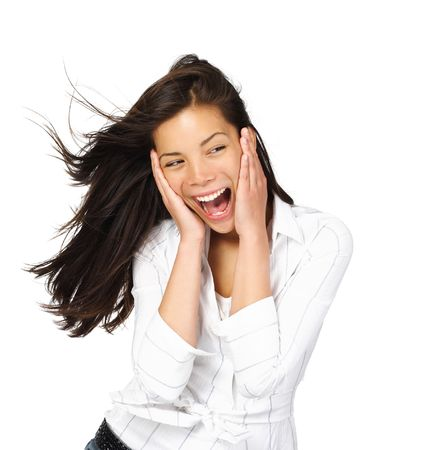 Very excited mixed caucasian / asian woman holding her head in amazement. Isolated on white. Stock Photo - 4977690