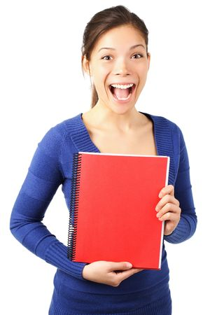 Very excited university student showing blank red notebook. Isolated on white. Stock Photo - 5014023