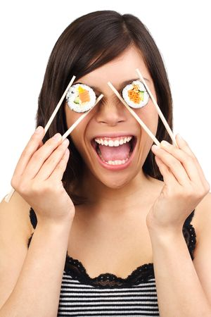 Funny Bild von Frau mit Sushi.isolated auf weiß.