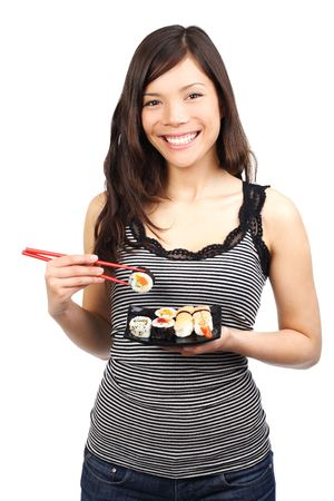 model fish: Beautiful young woman with a plate of sushi. Isolated on white. Stock Photo