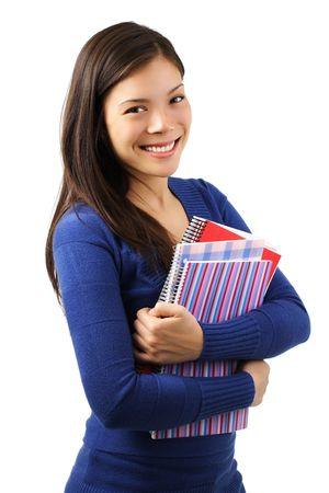 learing: Young woman university student with notebooks. Isolated on white.