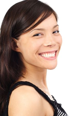 Portrait of beautiful mixed asian  caucasian woman. Isolated on white. photo