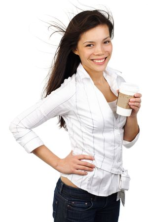 Casual young businesswoman  student with disposable coffe cup. Isolated on white background. photo