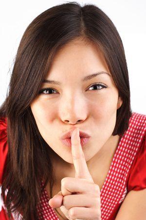 finger to lips: Hush! shh, don´t tell - it´s a secret!