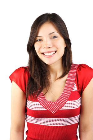 Cute smiling mixed asian / caucasian young woman. Isolated on white background. Stock Photo - 5174612