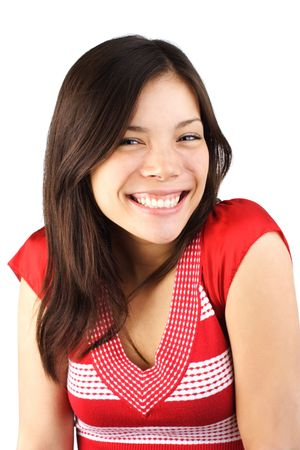Cute smiling mixed asian / caucasian young woman. Isolated on white background. Stock Photo - 5174611