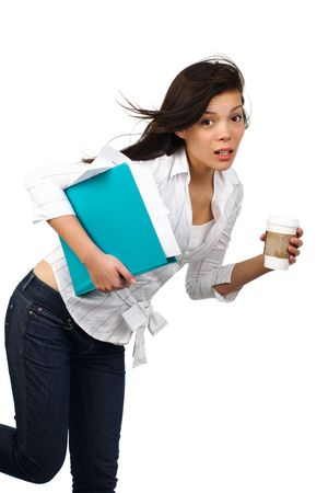 Surprised Beautiful casual businesswoman on the move with disposable coffee cup. Isolated on white background   photo