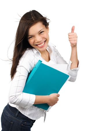 alright: Happy and excited young university  college student giving thumbs up. Isolated on white background. Stock Photo