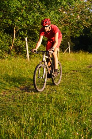 Man riding a mountain bike on a forest trail Stock Photo - 5216244