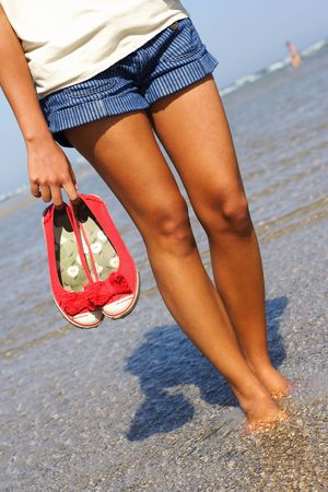 woman walking on the beach barefeet holding her shoes Stock Photo - 5422779