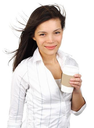 Happy smiling young businesswoman with coffee from disposable cup. Beautiful mixed asian  caucasian model. Isolated white background. photo