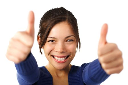 Thumbs up. Very excited young mixed caucasian / asian woman giving thumbs up. Shallow depth of field, focus on face. Stock Photo - 5660783