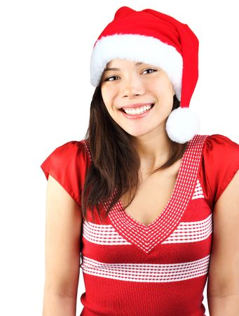Santa girl. Cute shy smiling mixed asian / caucasian young woman with christmas hat. Isolated on seamless white background. Stock Photo - 5775028