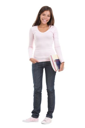mujer cuerpo completo: Universidad de la mujer  estudiante universitario. Imagen de la longitud total de estudiante de celebraci�n de libros. Hermosa raza mixta asi�tica  cauc�sicos modelo. Aislado sobre fondo blanco transparente.