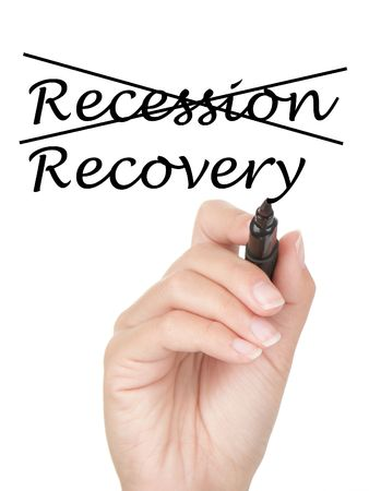 recovery: Hand crossing over recession and writing recovery on copy space on virtual whiteboard  screen. Easily replaced with your own text. Isolated on white background.