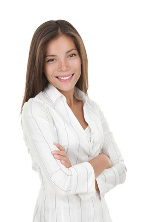 folded arms: Confident young smiling businesswoman. Beautiful mixed race chinese  caucasian model isolated on seamlees white background. Stock Photo