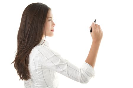 copy writing: Businesswoman writing or drawing with pen on copy space  whiteboard. Casual beautiful young mixed race chinese  caucasian business woman isolated on seamless white background. Bright with backlight Stock Photo
