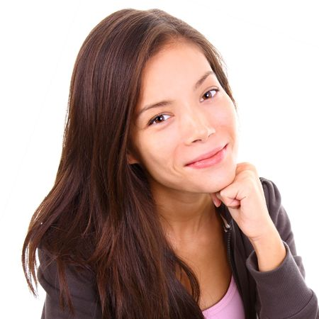 eurasian: Portrait of beautiful mixed race caucasian  asian model. Stock Photo