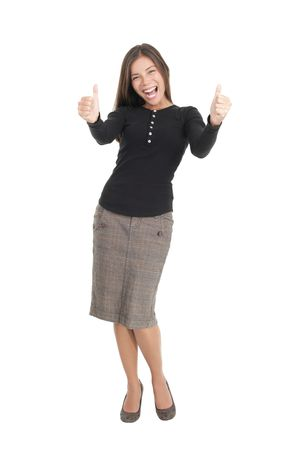 up skirt: Happy businesswoman isolated on white giving thumbs up. Mixed race chinese  caucasian model.