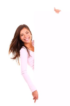 banner ad: Beautiful woman holding sign. Cute image of woman holding a white blank board  placard. Beautiful mixed race asian  caucasian model isolated on white background.