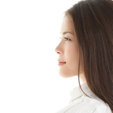 profile face: Profile woman. portrait of a beautiful young woman. Bright and isolated on white. Stock Photo