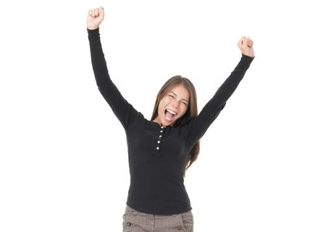 verry: Winner woman. Casual young successful businesswoman verry excited. Isolated on white background.