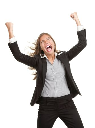 Winner businesswoman with success. Beautiful young mixed race chinese / caucasian woman in suit cheering vere happy excited. Isolated on white background. Stock Photo - 6244749